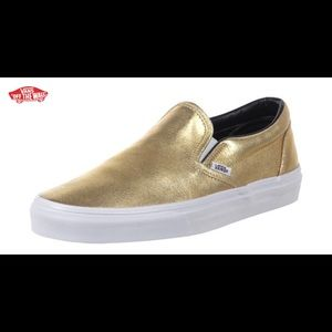 Vans gold lame classic slip on size 6